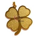 Pendente Aço Inox Grande Trevo - Dourado (72 x 58 mm)