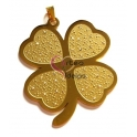 Pendente Aço Inox Grande Trevo - Dourado (72x58mm)