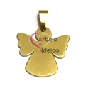 Pendente Aço Inox Medalha Anjo Liso - Dourado (25 x 23 mm)