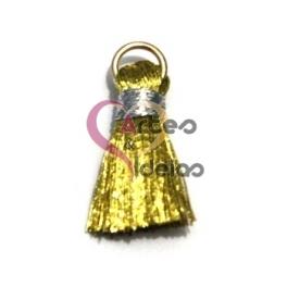 Pompom de Seda com Argola - Dourado com Prateado (20 mm)