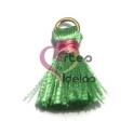 Pompom de Seda com Argola - Verde Claro com Rosa (20 mm)