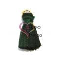 Pompom de Seda com Argola - Verde Escuro (20 mm)