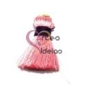 Pompom de Seda com Argola - Rosa Pastel com Roxo (20 mm)