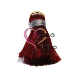Pompom de Seda com Argola - Bordeaux com Cinza (20 mm)