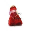 Pompom de Seda com Argola - Vermelho com Rosa (20 mm)