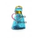 Pompom de Seda com Argola - Azul Claro com Dourado (20 mm)