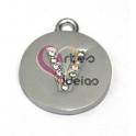 Pendente Metal Tipo Aço Medalha Letra V Brilhante - Prateado (20 mm)