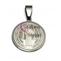 Pendente Aço Inox Medalha S. Bento - Prateado (22 mm)