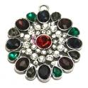 Pendente Metal Flor Cristais Colors - Prateado (55 mm)