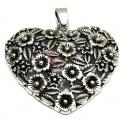 Pendente Metal Coração Flores - Prateado (65 x 60 mm)