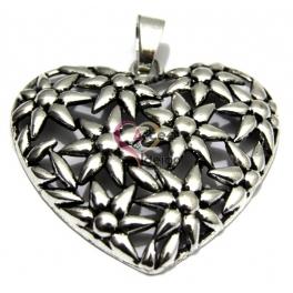Pendente Metal Coração Malmequer - Prateado (65 x 60 mm)