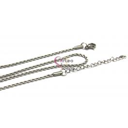 Fio Aço Inox Completo Cordão Twist (2mm) - Prateado [45cm]