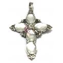 Pendente Metal Cruz Cristais Ovais - Prateado (80 x 55 mm)