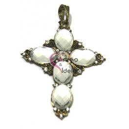 Pendente Metal Cruz Cristais Ovais - Dourado Velho (80 x 55 mm)