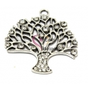 Pendente Metal Árvore com Brilhantes - Prateado (45 x 42 mm)