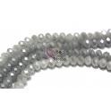 Fiada Contas de Cristal Facetadas - Opaque White Pearl (8 x 6) - [aprox. 72 unds]