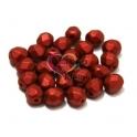 Pack Contas Facetadas da Bohemia - Red Metallic Mat (6 mm) - [25 unds]