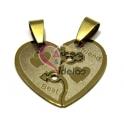 Pendente Aço Inox Coração Best Friend - Dourado (27 mm)