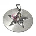 Pendente Aço Inox com Estrela 5 Pontas - Prateado (36 mm)