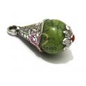Pendente Metal Bola Verde com Flor - Prateado (38 x 18 mm)
