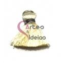 Pompom de Seda com Argola - Creme com Cinza (20 mm)