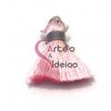 Pompom de Seda com Argola - Rosa Clarinho com Cinza (20 mm)