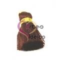 Pompom de Seda com Argola - Castanho com Dourado (20 mm)