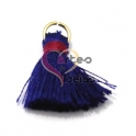 Pompom de Seda com Argola - Azul Escuro com Rosa (20 mm)