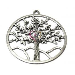 Pendente Metal Redondo Árvore da Vida - Prateado (58 mm)