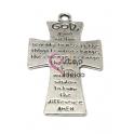 Pendente Metal Cruz Oração - Prateado (56 x 33 mm)