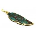 Pendente Folha em Pedra Azul e Castanha com Dourado (80 x 25)
