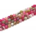 Fiada de Pedras Bolinhas Semi-Preciosas Rosa e Verde (8 mm) - [48 unds]