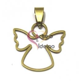 Pendente Aço Inox Anjo Contorno - Dourado (22x25mm)