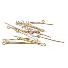 Pack Alfinetes Aço Cabeça de Argola [30 mm] - Dourado (aprox. 20 unds)