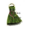 Pompom de Seda com Argola - Verde (20 mm)
