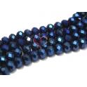 Fiada Contas de Cristal Facetadas - Multi Blue (8 x 6) - [aprox. 72 unds]