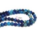 Fiada de Pedras Bolinhas Semi-Preciosas Ágata Azul (10 mm) - [38 unds]
