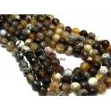 Fiada de Pedras Bolinhas Semi-Preciosas Castanho Mesclado (8 mm) - [48 unds]