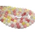 Fiada de Pedras Bolinhas Semi-Preciosas Mix Rosa Amarelo e Branco (8 mm) - [48 unds]