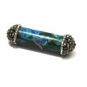 Pendente Cilindro Pedra Mesclado Azul e Verde (50x14mm)