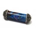 Pendente Cilindro Pedra Mesclado Azul e Castanho (50x14mm)