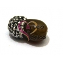 Pendente Lágrima Pedra com Brilhantes - Castanho (16x10mm)