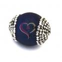 Pedra Semi-Preciosa Gema Bola Furada com Cristais - Azulão