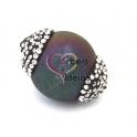 Pedra Semi-Preciosa Gema Bola Furada com Cristais - Cores
