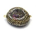 Pedra Semi-Preciosa Gema Cores com Brilhantes Dourados