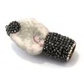Pendente Geode Branca com Brilhantes para Pompom (53x25mm)