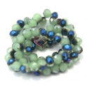 Fiada Contas de Cristal Facetadas - Verde com Azul (8 x 6) - [aprox. 72 unds]