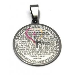 Pendente Aço Inox Medalha Pai Nosso - Prateado (25mm)