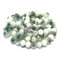 Fiada Contas de Cristal Facetadas - Branco com Metalizado Verde (8 x 6) - [aprox. 72 unds]