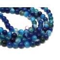 Fiada de Pedras Bolinhas Semi-Preciosas Ágata Azul (8 mm) - [48 unds]